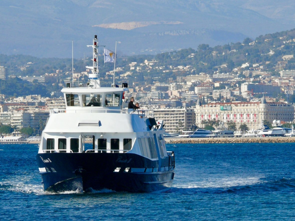 A ferry from Cannes to the Lerins Islands on the French Riviera