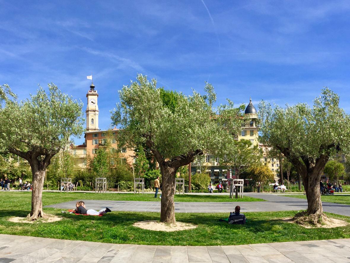The Paillon Promenade near Massena Square in Nice